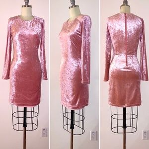 Bebe Velvet Light Pink Bodycon Dress